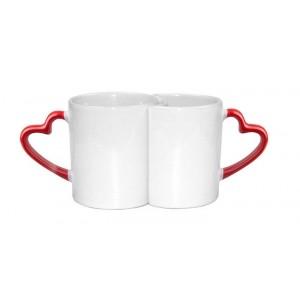 Кружки-пара белые сублимационные вогнутые с красными ручками в форме сердца